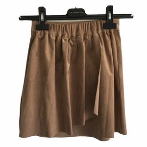 ARITZIA Wilfred Vegan Suede Mini Skirt Camel XXS